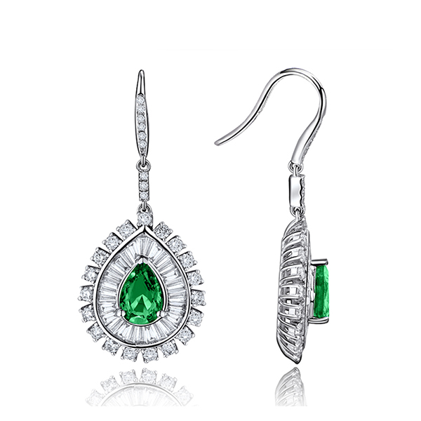 2.03 CT Pear Cut Emerald Drop Earrings 2.40 CT Brilliant Diamonds White Gold