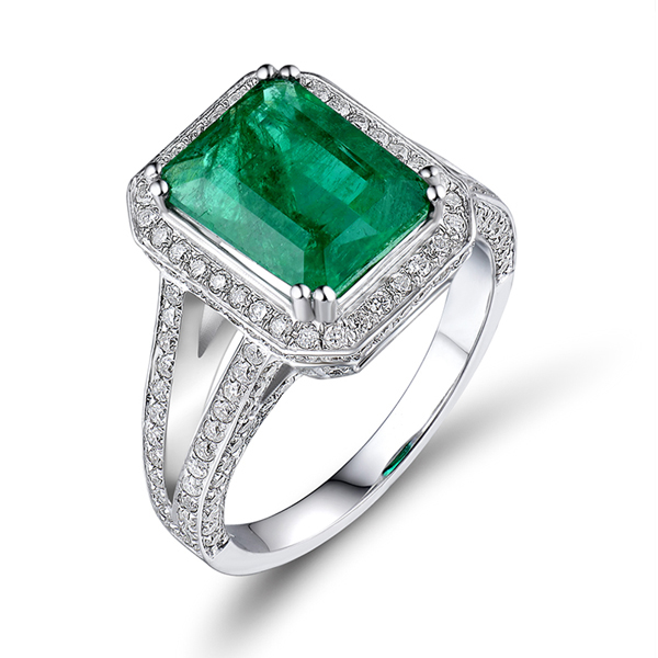 3.25 CT Split Shank 8x10mm Emerald Engagement Ring 1.16 CT Brilliant Diamonds