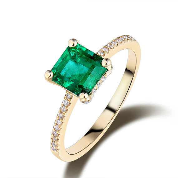 1.54 CT Princess Cut Emerald & Round Diamond Pave Engagement Ring