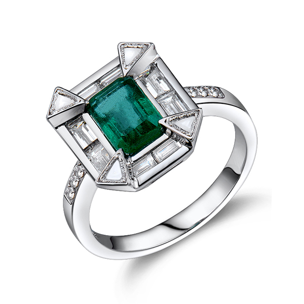 Vintage Emerald Cut Engagement Ring 2.35 CT Natural Diamond & Emerald Stones