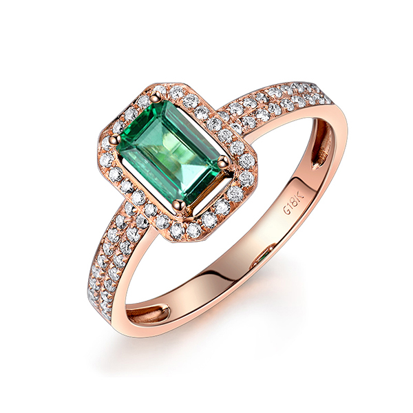 Emerald Cut 1 07 CT Engagement Ring 18K Rose Gold Diamond