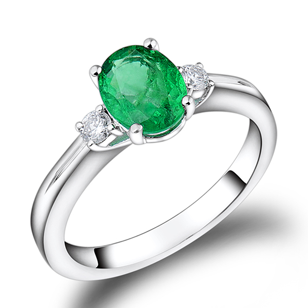 Gorgeous 1.27 CT Oval Cut Emerald Engagement Ring 0.16CT Diamond Side Stones