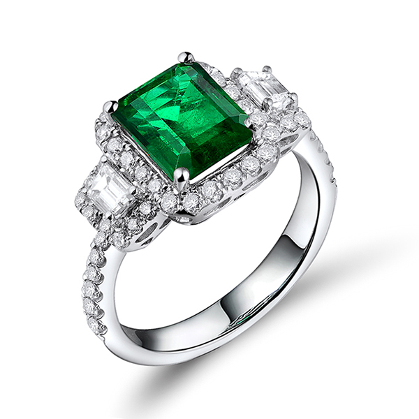 Fancy 18K Gold Natural 2.70 CT Diamond & Emerald Engagement Ring