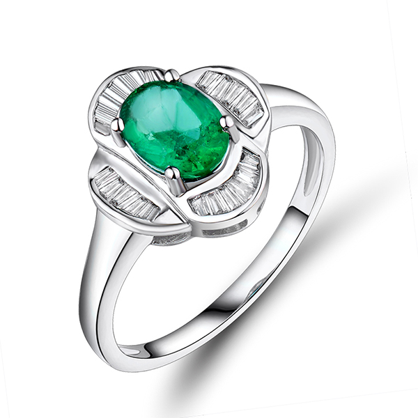 Contemporary 0.97 CT Oval Cut Emerald & Genuine Diamond Engagement Ring
