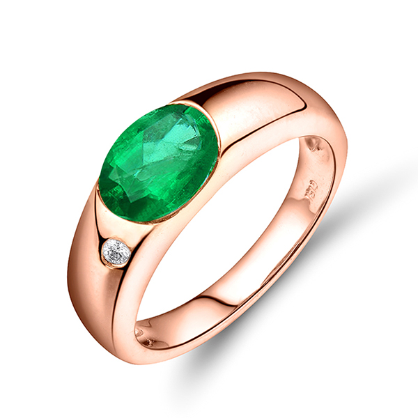 CT Oval Cut Emerald Unique Engagement Ring 18K Rose Gold