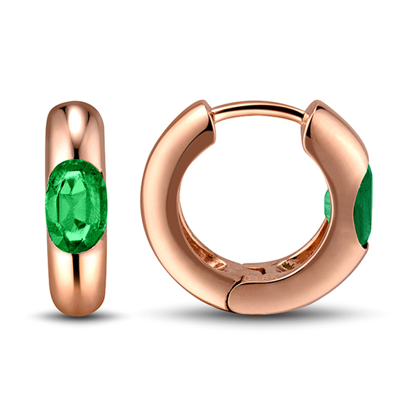 1.02 Carat Oval Cut Emerald Unique Hoop Earrings 18K Rose Gold