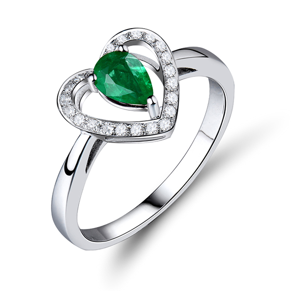 0.70CT Natural Emerald & Diamond Heart Engagement Ring 18K White Gold