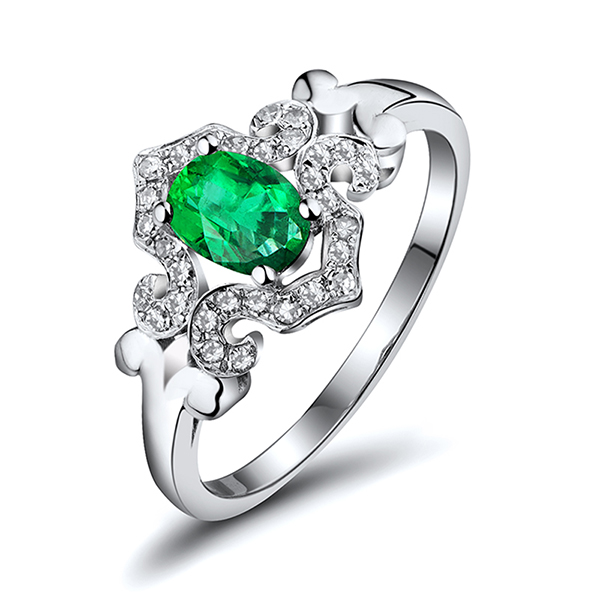 0.86 CT Emerald & Diamond Vintage Engagement Ring 18K White Gold