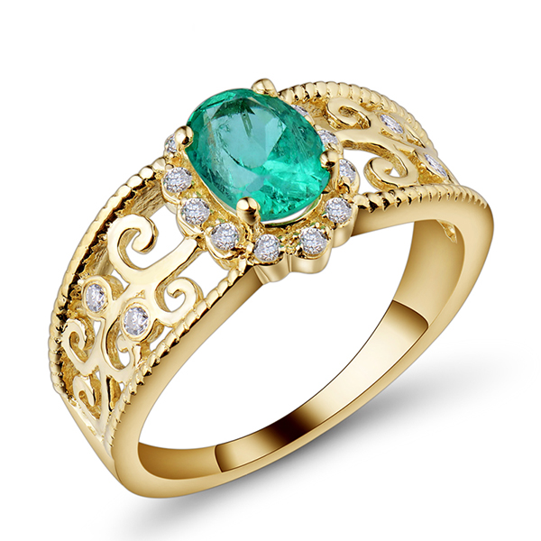 Filigree 0 96 CT Oval Emerald Engagement Ring In 14K Yellow Gold