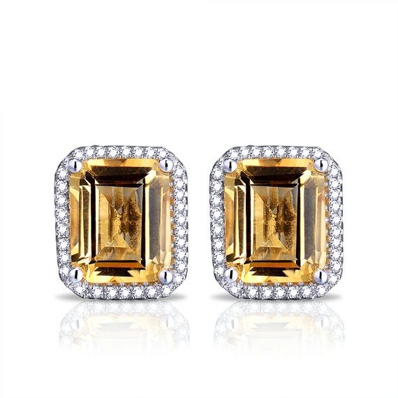 Vintage Emerald Cut 6.72 Citrine & Diamond Gemstone Earrings