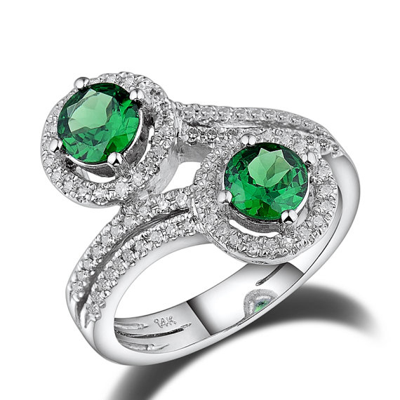 Twin Flower 1.65 CT Diamond & Tsavorite Gemstone Ring