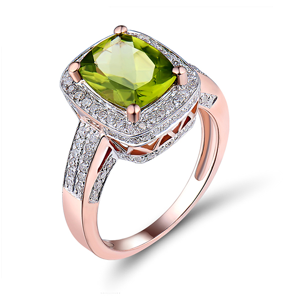 3.91 CT 14KT Rose Gold Diamond Peridot Gemstone Ring
