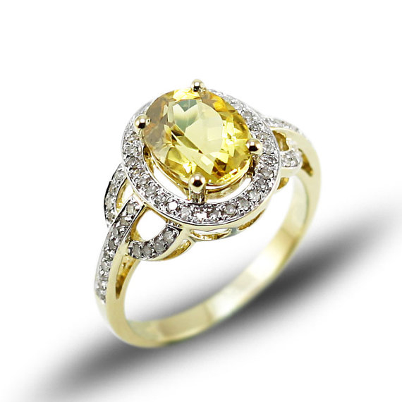 Vintage Oval 2.50 CT Yellow Citrine & Diamond Gemstone Ring