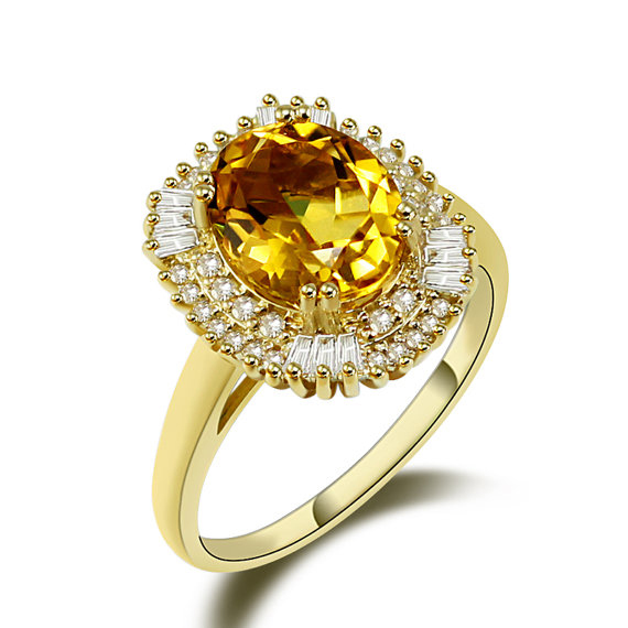 3.87 CT Oval Yellow Citrine Gemstone Ring with 0.80 CT Diamonds