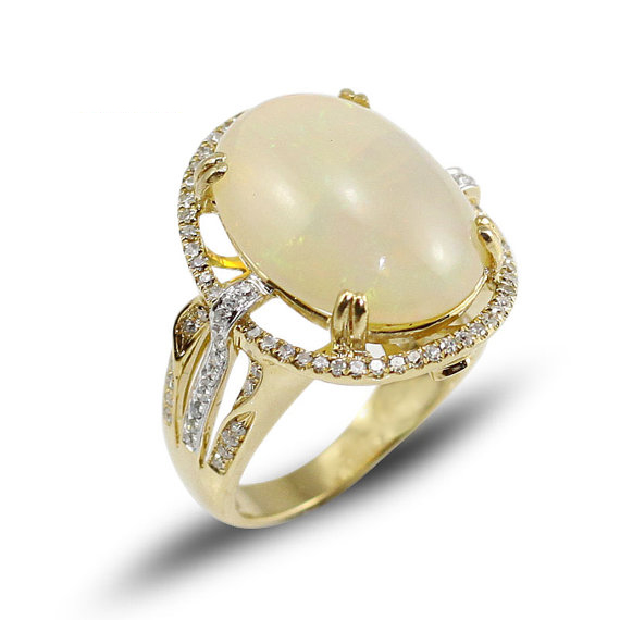 7.05 CT Oval Opal Gemstone Ring with 0.62 CT Diamonds Yellow Gold