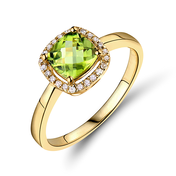 Halo 2.33 CT Cushion Peridot & Diamond Gemstone Ring 14K Yellow Gold