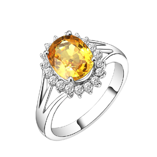 2.54 CT Citrine & Diamond Halo Gemstone Ring 14K Yellow Gold