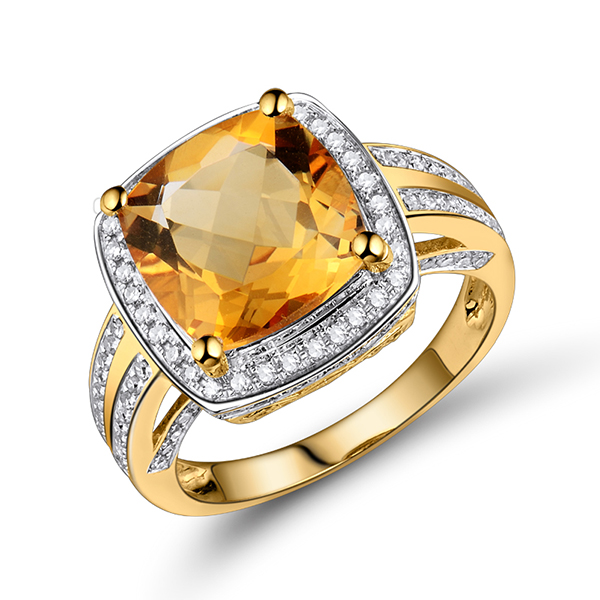 4.21 CT Cushion Citrine & Diamond Gemstone Ring in Yellow Gold