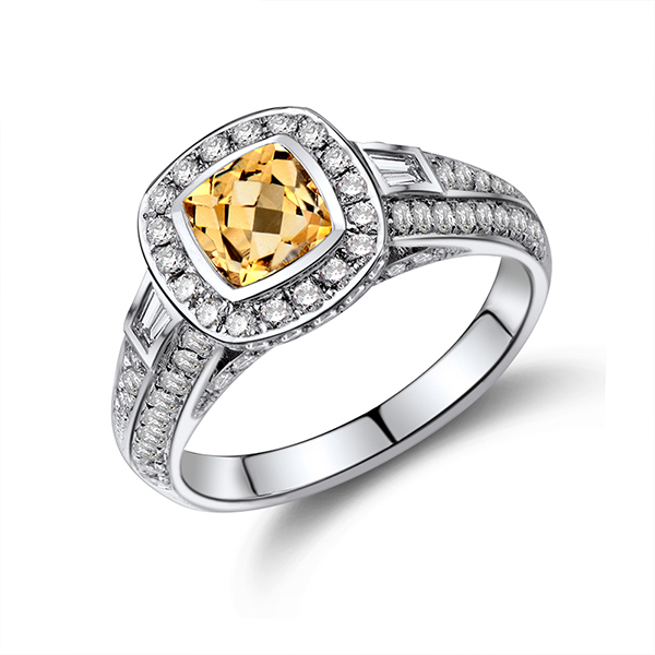 1.14 CT Brilliant Diamond & 0.80 CT Cushion Citrine Gemstone Ring