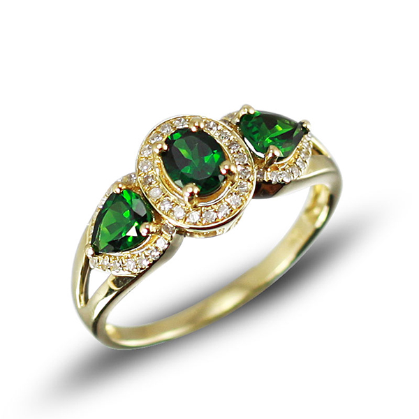 Side Stone 1.32 CT Green Tsavorite Diamond Gemstone Ring Yellow Gold