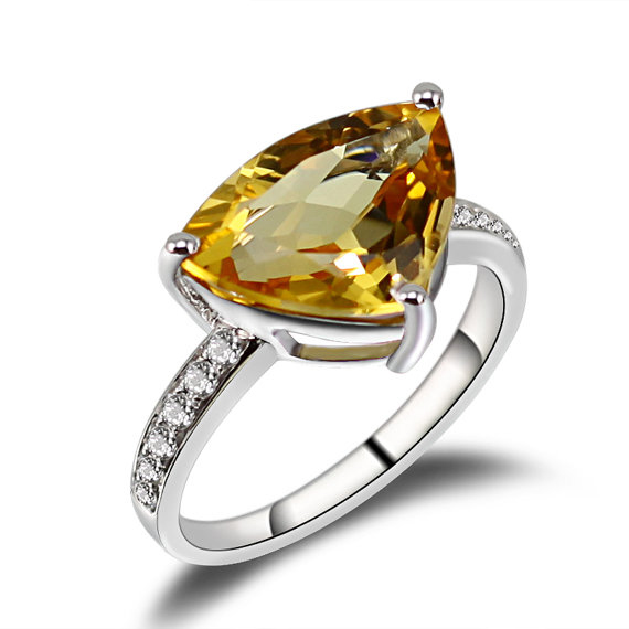 4.13 CT Trillion Citrine & Diamond Gmestone Ring 18k White Gold