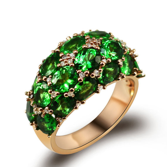 Exquisite Hidden Gems 7.79 CT Tsavorite & 0.34 CT Diamond Ring