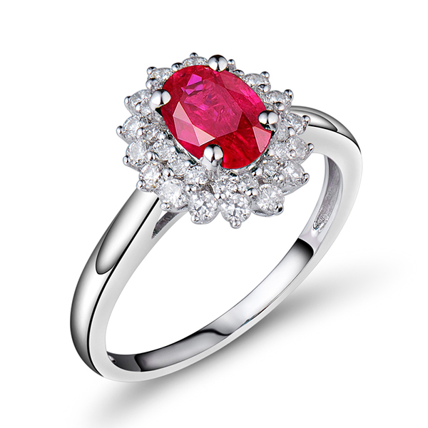 2.29 Carat Ruby Halo Engagement Ring With Diamonds 18K White Gold