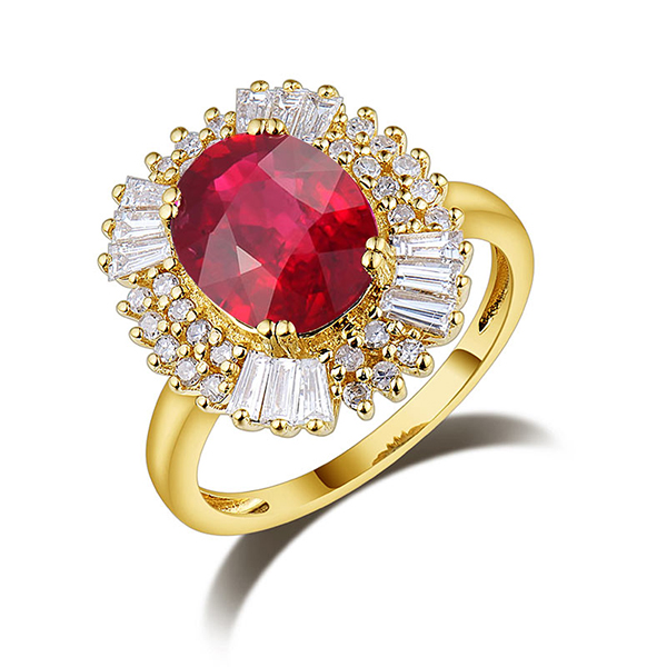 Petite 3.83ct Diamond & Natural Red Ruby Engagement Ring in Yellow Gold