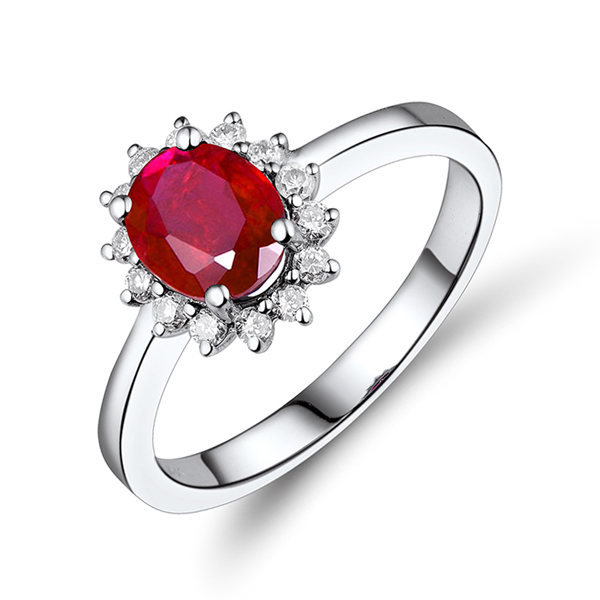 Elegant 1.86 CT Natural Ruby Flower Engagement Ring w Diamond Halo