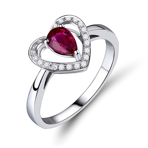 0.69 CT Valentine's Heart Natural Red Ruby Engagement Ring w Diamonds