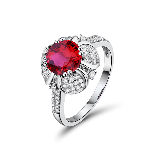 Exotic Flower 2.24 CT Red Ruby & Diamond Engagement Ring White Gold