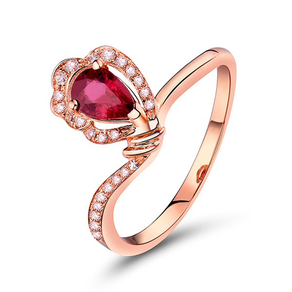 Unique 0.64 CT Pear Cut Ruby Engagement Ring in Rose Gold