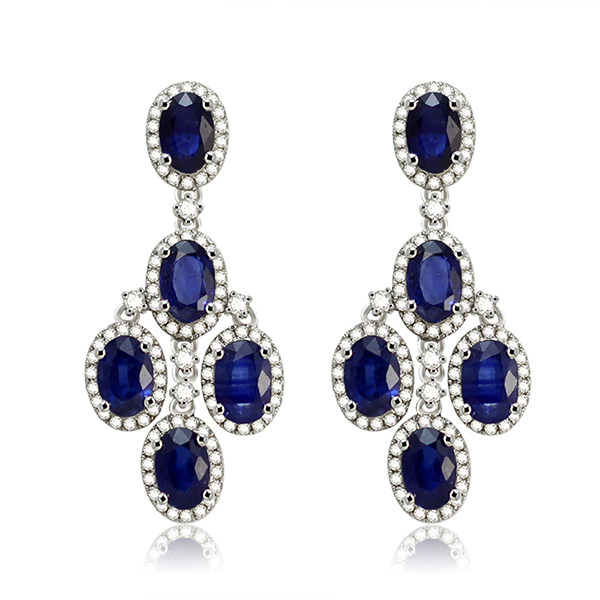 Stunning 7.40 CT Sapphire & 0.91 CT Diamond Earrings 14K White Gold