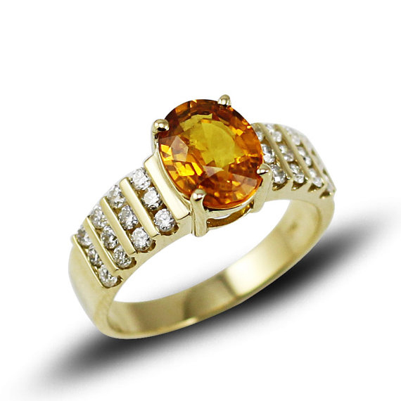 Grand 2.80 CT Oval Yellow Sapphire Ring with Diamond Side Stones