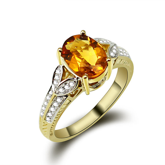 Vintage 2.88 CT Yellow Sapphire Diamond Ring in 14K Yellow Gold