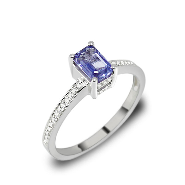 1.13 CT Emerald Cut Sapphire Engagement Ring with Diamonds