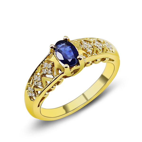 Vintage 0.88 CT Oval Sapphire Diamond Engagement Ring Yellow Gold