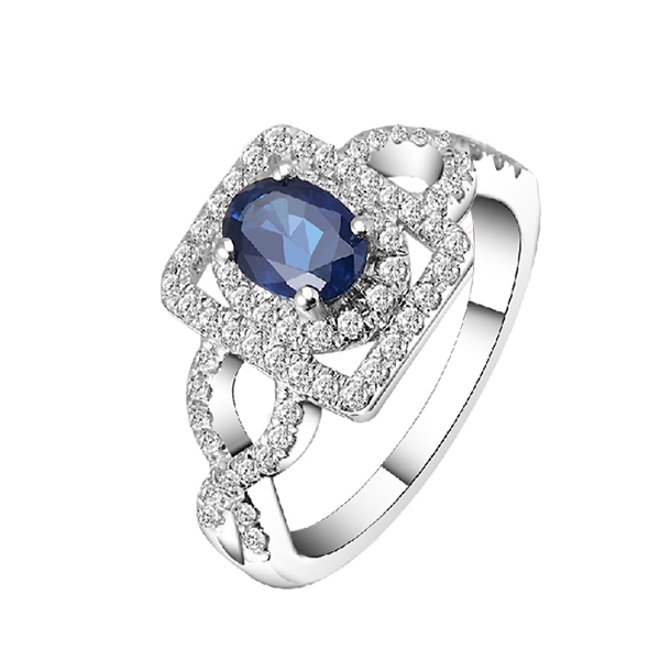 Vintage 1 Carat Sapphire Engagement Ring with 1/2 Carat Diamond Pave