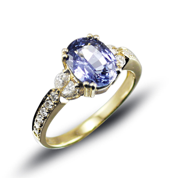 2.86 CT Vintage Diamond Sapphire Engagement Ring Yellow Gold