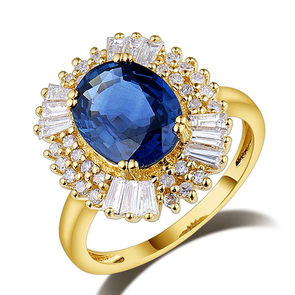 Fancy 4.04 Carat Sapphire Diamond Engagement Ring 14K Yellow Gold