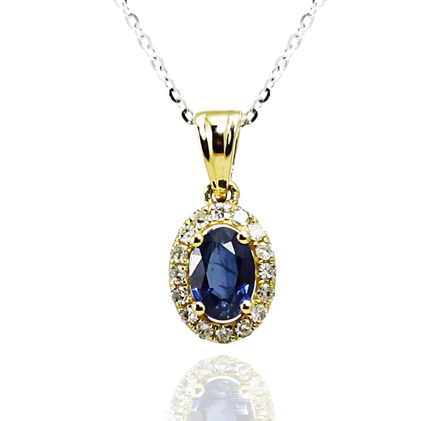 Vintage 0.97 CT Oval Sapphire Diamond Necklace 18K Yellow Gold