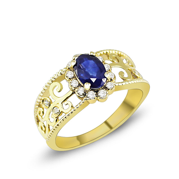 Antique 1.33 CT Diamond Sapphire Bridal Ring in 14K Yellow Gold