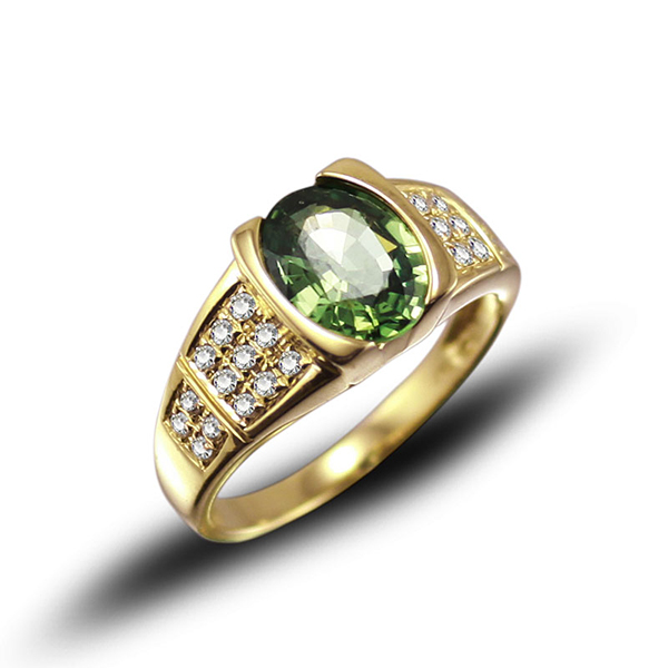 Exclusive 2.58 CT Oval Green Sapphire Ring with Diamond Side Stones
