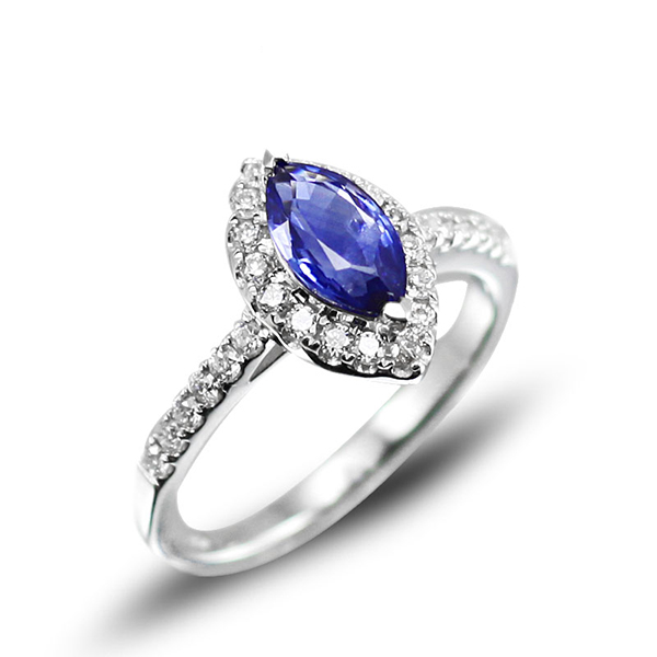 2.00 Carat Marquise Sapphire Engagement Ring w Diamonds