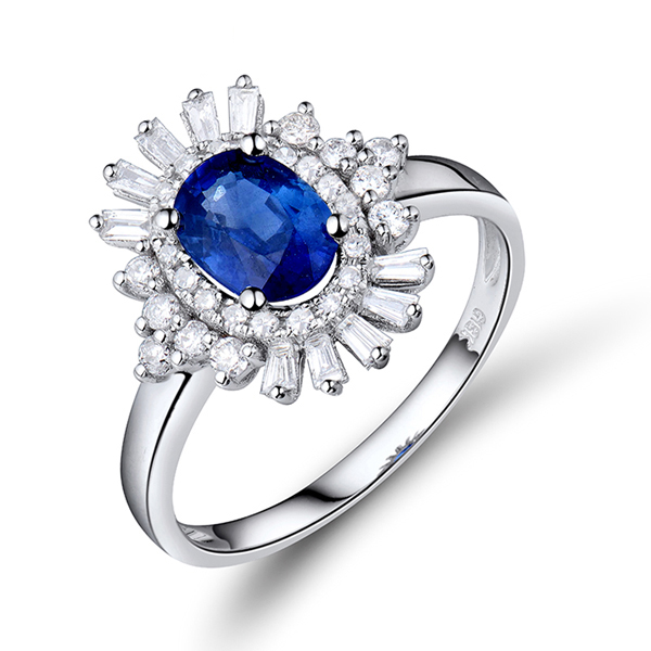 Exclusive 1.58 CT Sapphire Diamond Flower Engagement Ring 18K Gold
