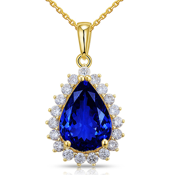 Classic 6.06 Carat Blue Tanzanite Drop Necklace Diamonds In Yellow Gold