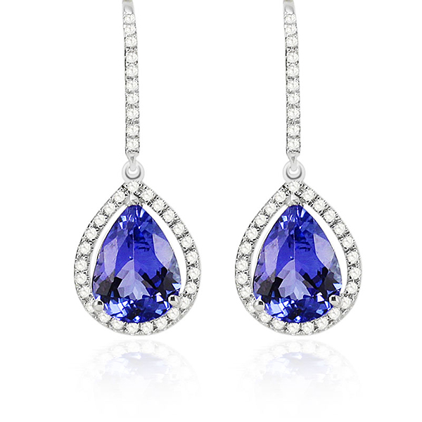 Vintage 1.69 CT Pear Tanzanite Drop Earrings with Diamonds White Gold