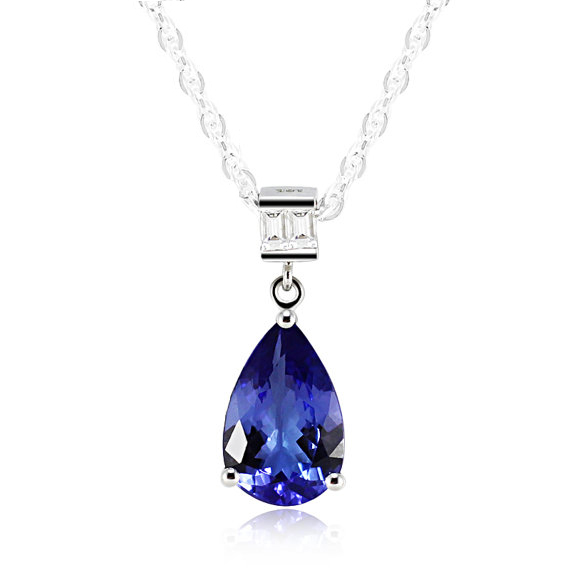 Vintage 3.37 CT Pear Cut Tanzanite Necklace White Gold with Diamonds