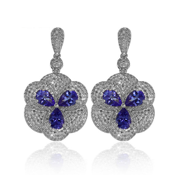 Royal 3.84 CT Pear Cut Tanzanite Drop Earrings 3.38 CT Diamonds