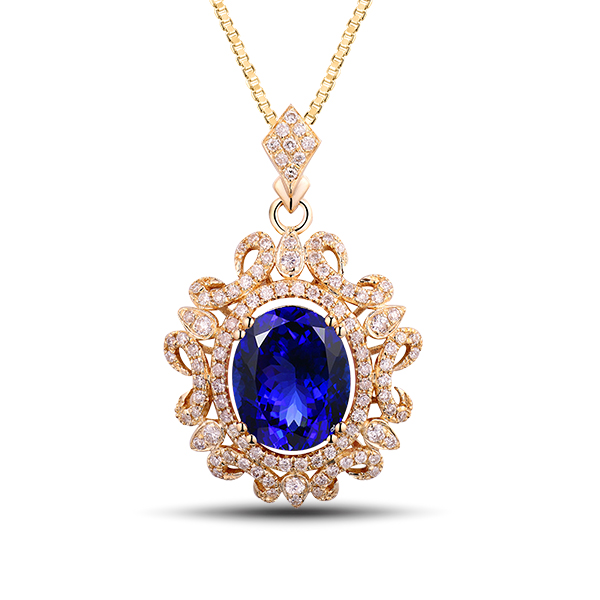 Exquisite Royal 3.05 Carat Oval Tanzanite Diamond Necklace 14K Yellow Gold